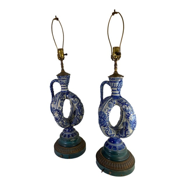 Cobalt Blue Salt Glazed German Double Ring Flask as Lamps - a Pair For Sale