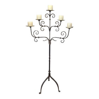Handmade Wrought Iron Floor Candelabra For Sale