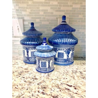 Vintage Blue and White Chinoiserie Pagoda Canisters - Set of 3 Preview