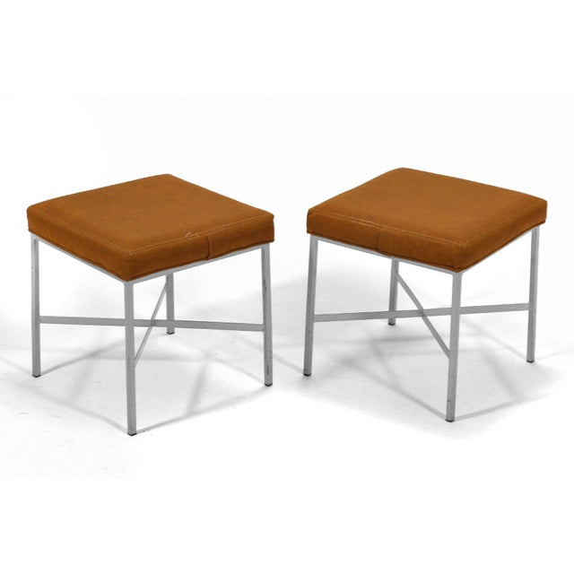 Shelby Williams Paul McCobb Style Ultrasuede Stools- a Pair - Image 5 of 7