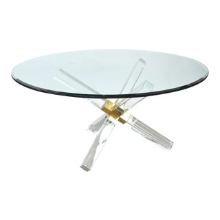 Charles Hollis Jones Post and Truss Lucite, Brass, and Glass Centre/Dining Table For Sale
