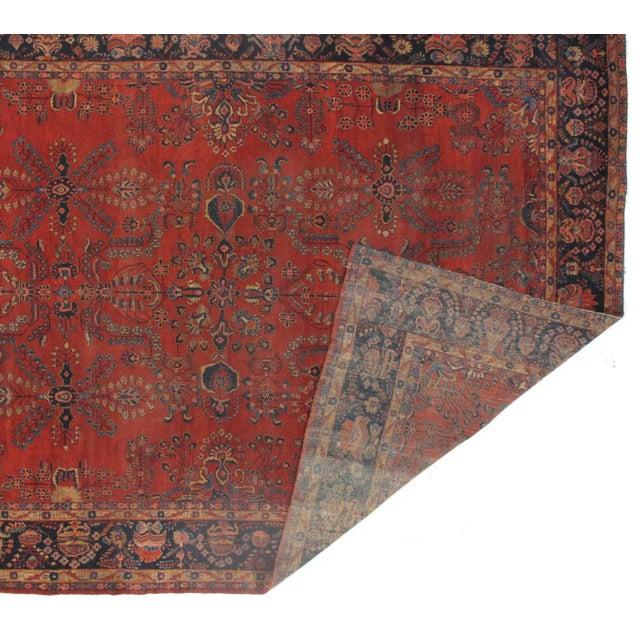 Islamic Early 20th Century Antique Sarouk Mohajeran Rug - 10′5″ × 13′7″ For Sale - Image 3 of 5