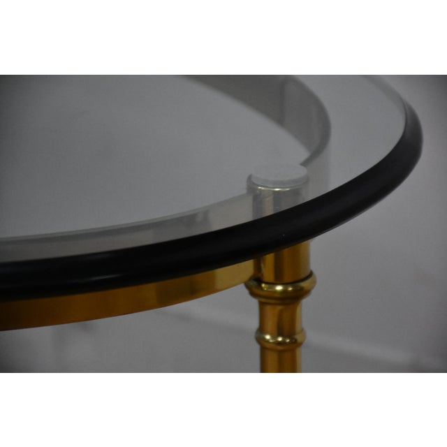 Hollywood Regency Brass & Glass Coffee Table - Image 7 of 8