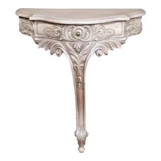 Early 20th Century French Louis XV Carved Painted Wall Hanging Console For Sale