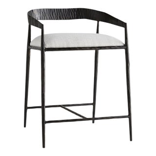 Modern Arteriors Ansel Counter Stool + Steel and Ivory Linen For Sale