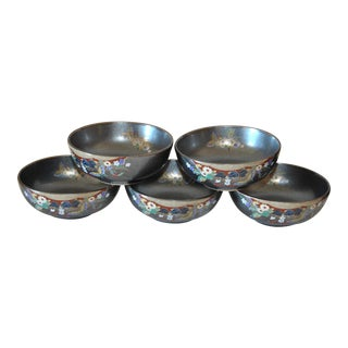 Black Satsuma Condiment Bowls in Cypress Box Japanese Collectible Porcelain - Set of 5 For Sale