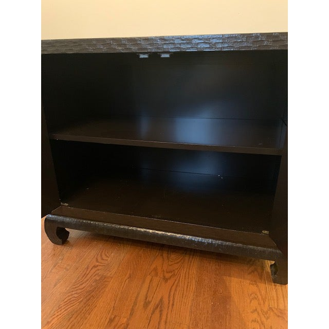 Baker Grasscloth Black Lacquered Ming Cabinet For Sale In New York - Image 6 of 10