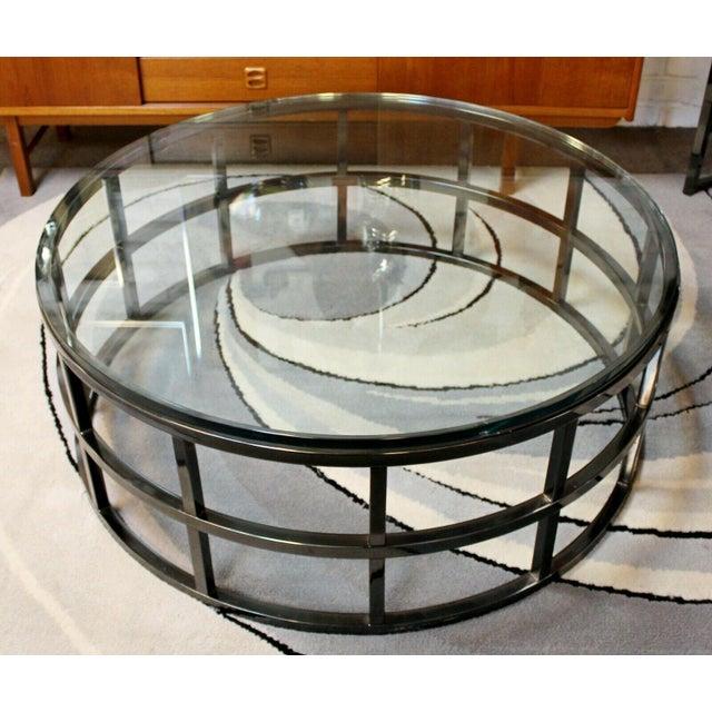 Brueton Contemporary Modernist Large Round Gunmetal Glass Coffee Table Brueton 1980s For Sale - Image 4 of 10