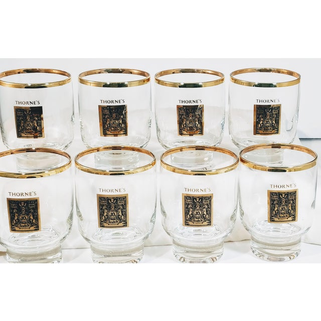 1960's Gold Rimmed Thorne Scotch Lowball Glass For Sale - Image 9 of 10