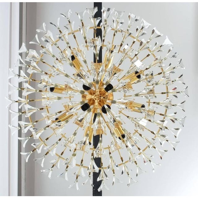 Large Glass and Brass Chandelier by Stilkrone Italy , circa 1970 For Sale - Image 4 of 9