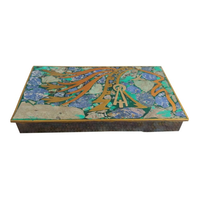 Vintage Brass and Stone Inlay Box Mayan Aztec Mexico For Sale