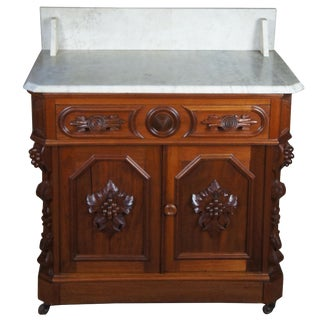 19th Century Antique Victorian Eastlake Carved Walnut Washstand For Sale