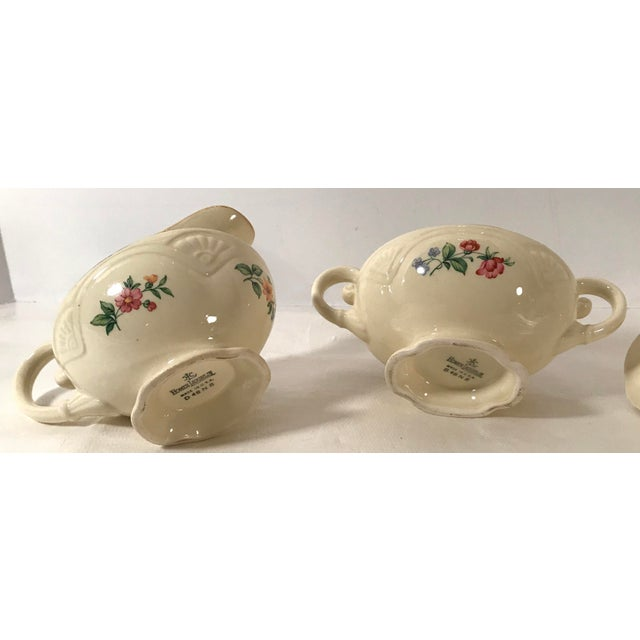 Eggshell Homer Laughlin Floral Creamer and Sugar Bowl For Sale - Image 8 of 11