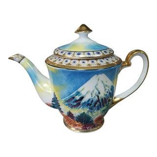 Vintage Circa 1950 Japanese Gem China Porcelain Gilded Handpainted Mountain Motif Teapot For Sale