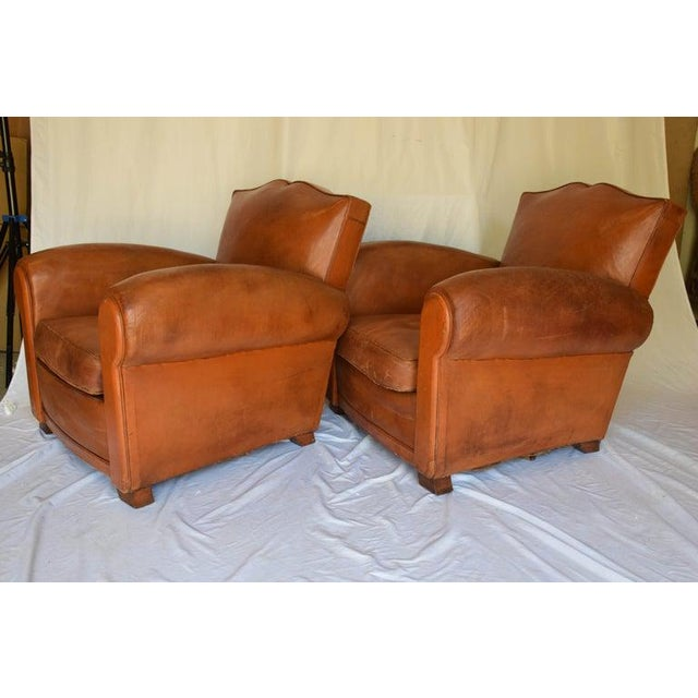 Leather 1930s Leather Moustache Leather Club Chairs - a Pair For Sale - Image 7 of 13