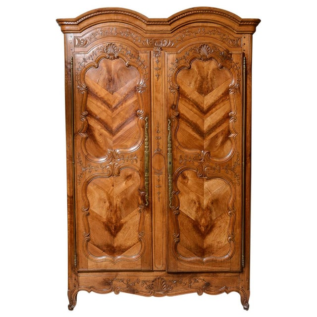 Brown Mid 18th Century French Cherry Double Dome Armoire For Sale - Image 8 of 8