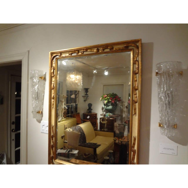 Gold Italian Rectangular Painted and Gilt Wood Beveled Mirror For Sale - Image 8 of 9