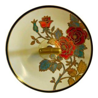 Vintage 1950s Noritake Hand Painted Floral Design Center Handle Tidbit Serving Tray For Sale