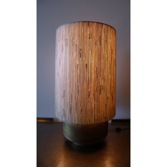 Modern Brass Table Lamp with Custom Grasscloth Shade - Image 3 of 10