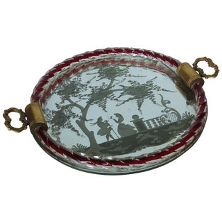 Etched Murano Glass Mirrored Tray by Ercole Barovier For Sale