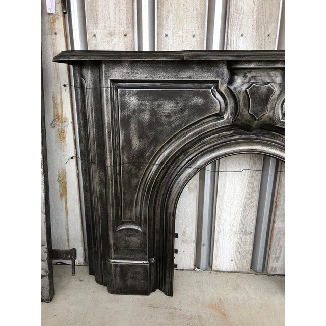19th Century Antique Gothic Cast Iron Fireplace Mantel For Sale - Image 5 of 6