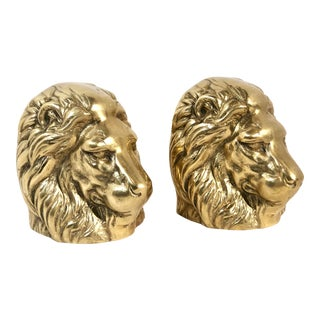 Solid Brass Gold Lion Head Paperweights - A Pair For Sale