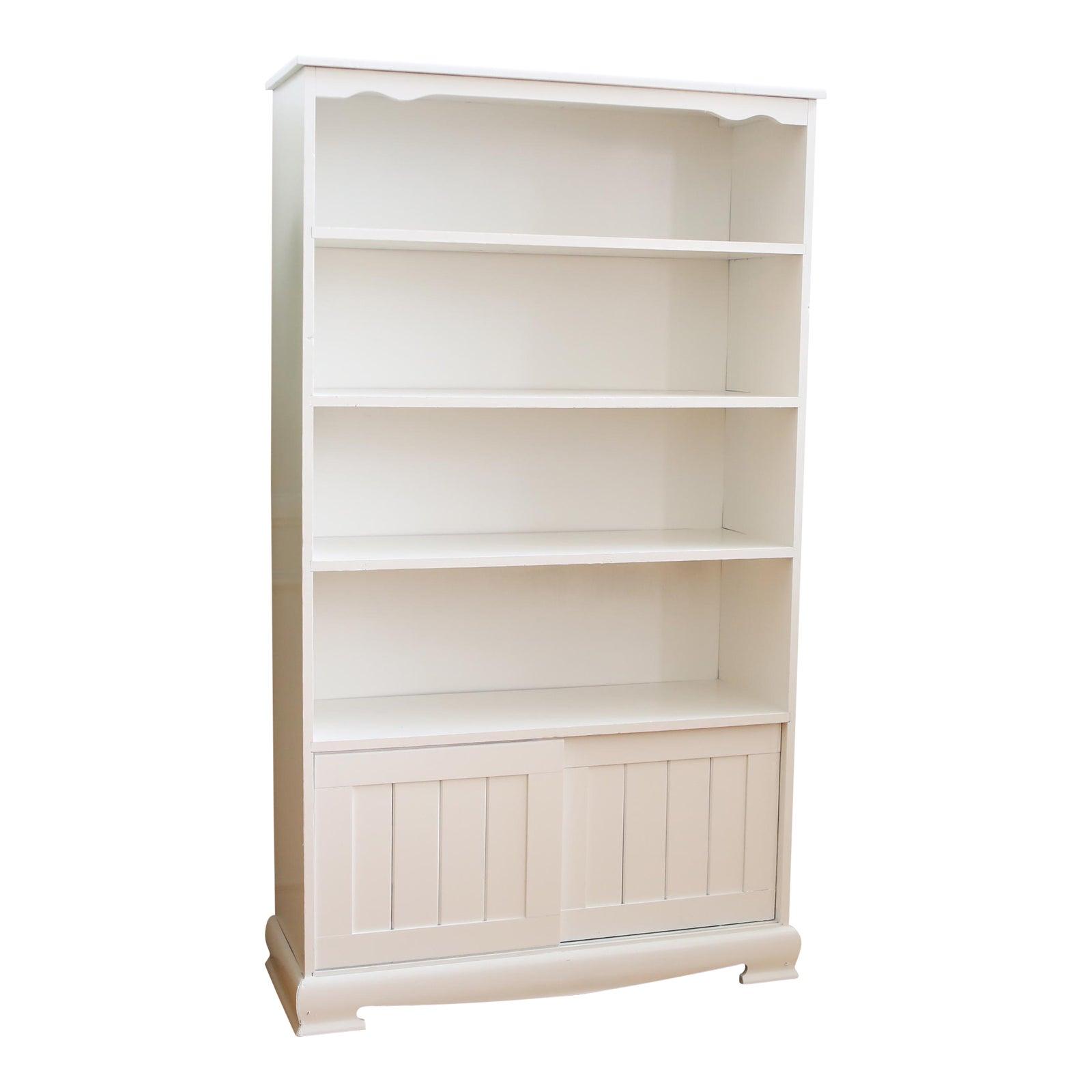 pin cream bookcase bookshelf chic shabby low