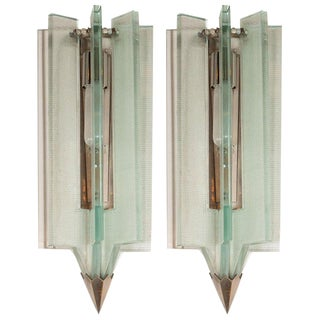 Mid-Century Modern Glass & Antique Nickel Sconces in the Manner of Fontana Arte For Sale