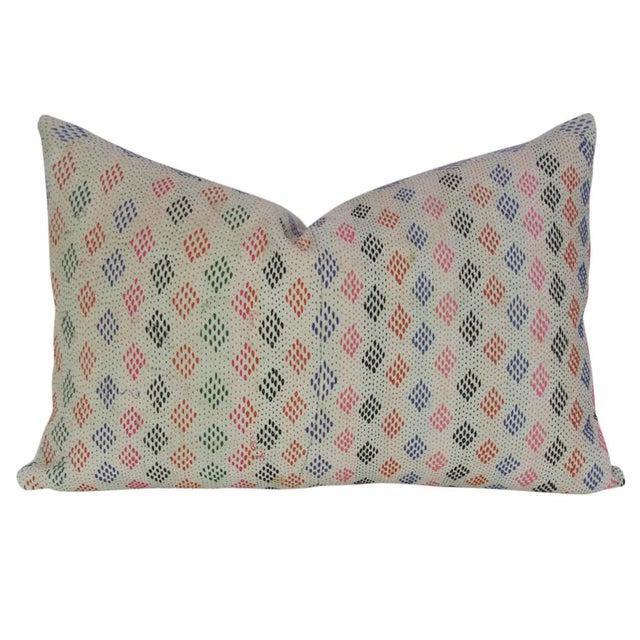 Bengal kantha pillow featuring a colorful design and running stitch. Hidden zipper closure and seamless linen back. Minor...