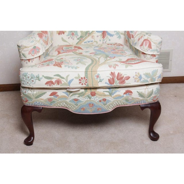 Queen Anne Vintage Woodmark Original Crewel Embroidered Wingback Chair For Sale - Image 3 of 11