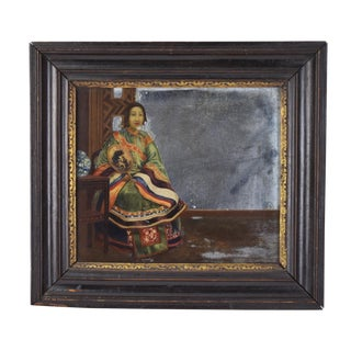 Antique Chinese Export Reverse Painted Mirror Woman in Robes With Fan For Sale