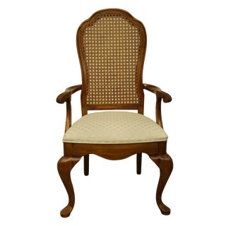 Late 20th Century Thomasville Furniture Fisher Park Collection Cane Back Dining Arm Chair For Sale
