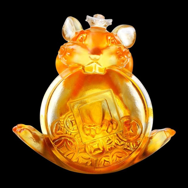 """2010s Liuli Crystal Art Crystal Limited Edition Mouse """"Unshakable"""" Zodiac Sculpture For Sale - Image 5 of 5"""