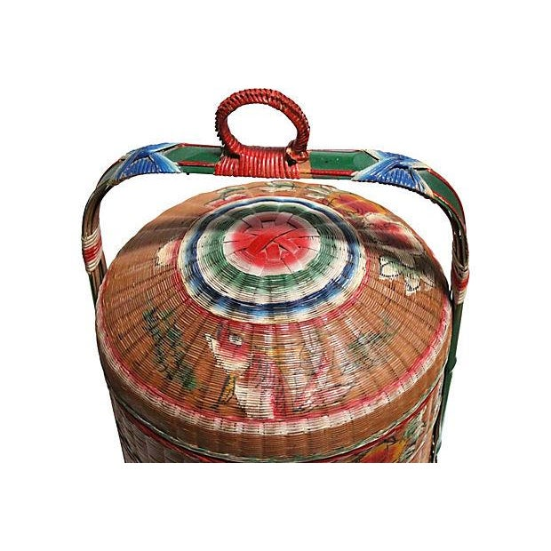 asian style hand painted stacked rice basket chairish. Black Bedroom Furniture Sets. Home Design Ideas