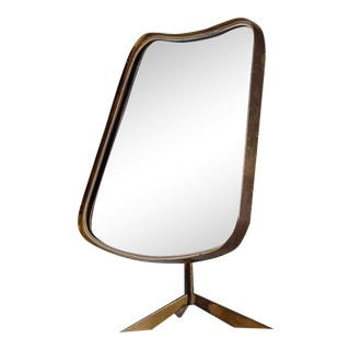 Brass console mirror on tripod foot, Germany, 1950s For Sale