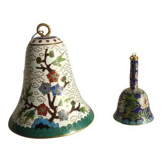 Vintage Cloisonne Bell Ornaments - a Pair