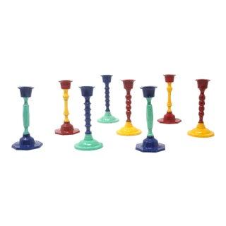 Vintage Multicolor Metal Candlestick Holders - Set of 8 For Sale