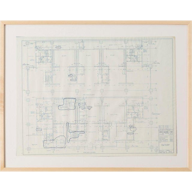 Blueprint from the office of Ludwig Mies van der Rohe, Chicago 1968 One Illinois Center Office Building - 3 NW, 111 East...