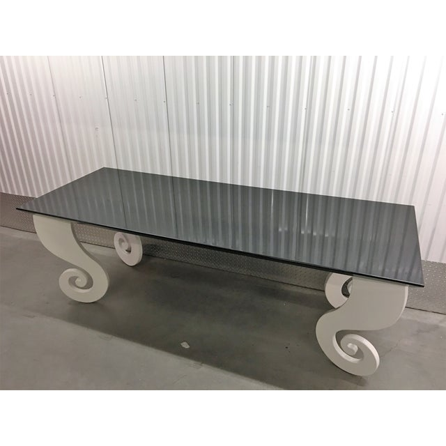 Black Lacquer Pinwheel Legged Hall Table - Image 5 of 10