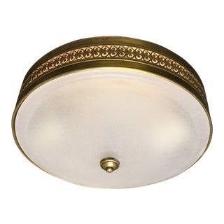 Vaughan Hodnet Bowl Flush Mount Light Brass With Plain Frosted Glass For Sale