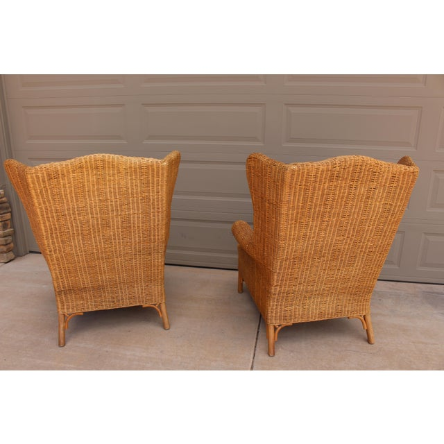 1970s Vintage Henry Link Woven Wicker Wingback Chairs- A Pair For Sale In Phoenix - Image 6 of 13