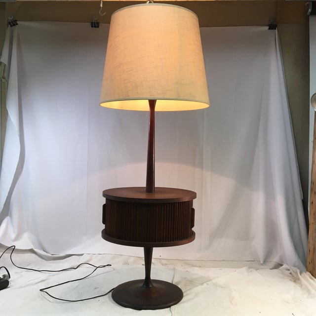Brown Vintage Mid-Century Leviton Wooden Floor Lamp With Tray Table and Sliding Compartment For Sale - Image 8 of 13