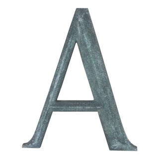 """19th Century French Cast Bronze Letter """"A"""" For Sale"""