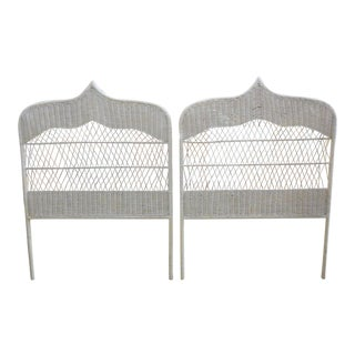 Moroccan Wicker Twin Headboards - A Pair