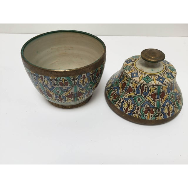 Moroccan Ceramic Glazed Storage Tureen Jar with Cover Handcrafted in Fez, Morocco For Sale - Image 4 of 7