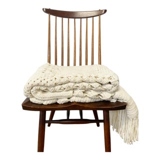 The Forsyth Hand-Knit Crochet Blanket For Sale