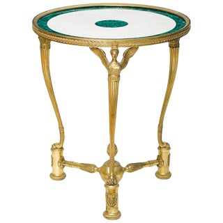 French Ormolu Bronze Malachite and White Marble Gueridon Table, Circa 1870 For Sale