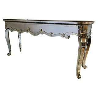 Hollywood Regency Mirrored Console With Applied Decoration and Cabriolet Legs For Sale