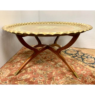 Moroccan Brass Tray on Folding Mahogany Table Preview