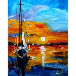 Sunset Harbor Sail Original Painting For Sale